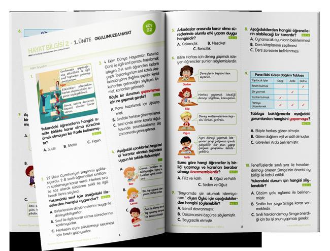 Uygun - 2. Sınıf Kazanım Ölçme Yaprakları (KÖY) Hayat Bilgisi - Sadık Uygun Yayınları