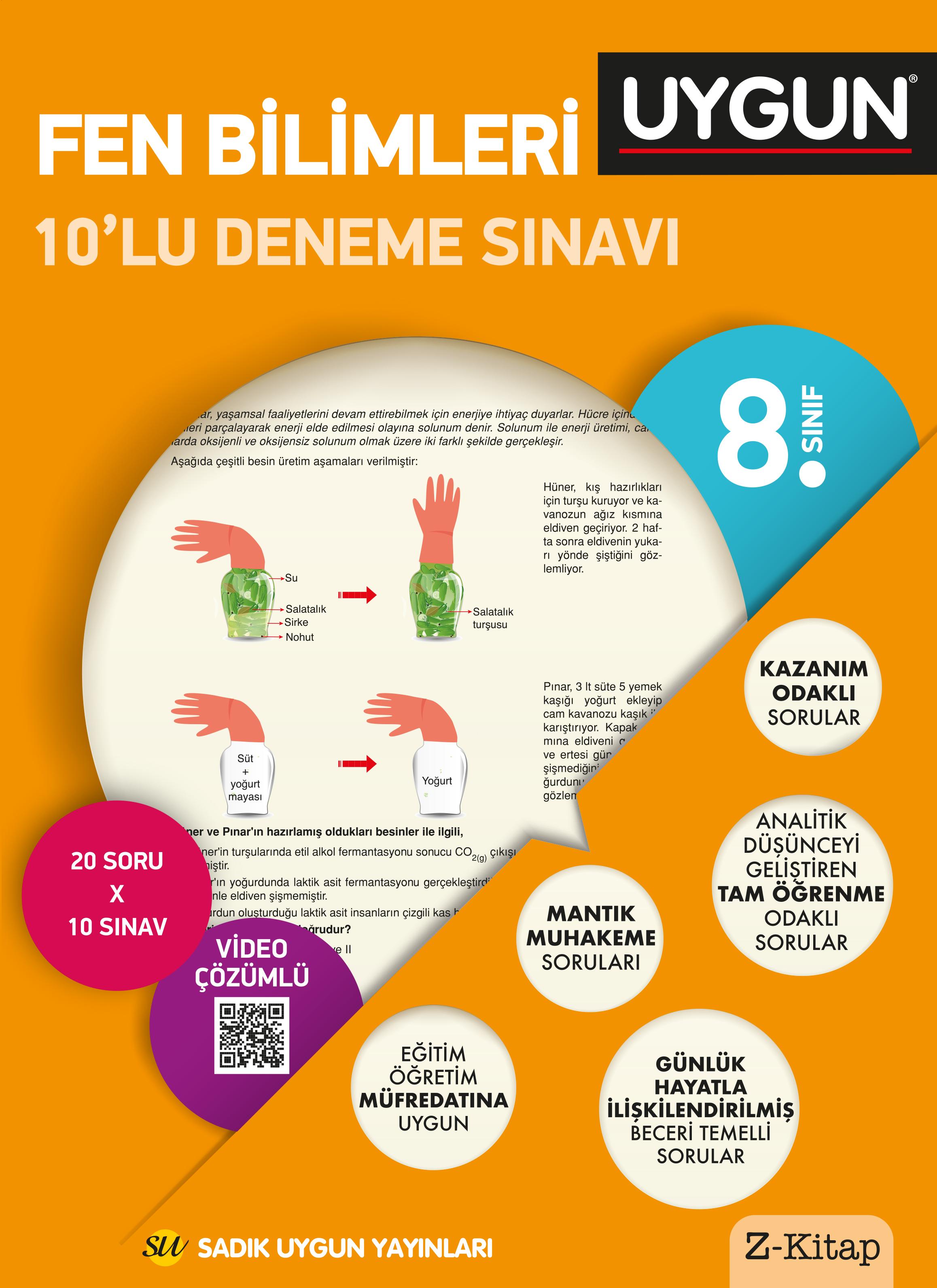 Uygun 8. Sınıf Fen Bilimleri 10'lu Deneme Sınavı