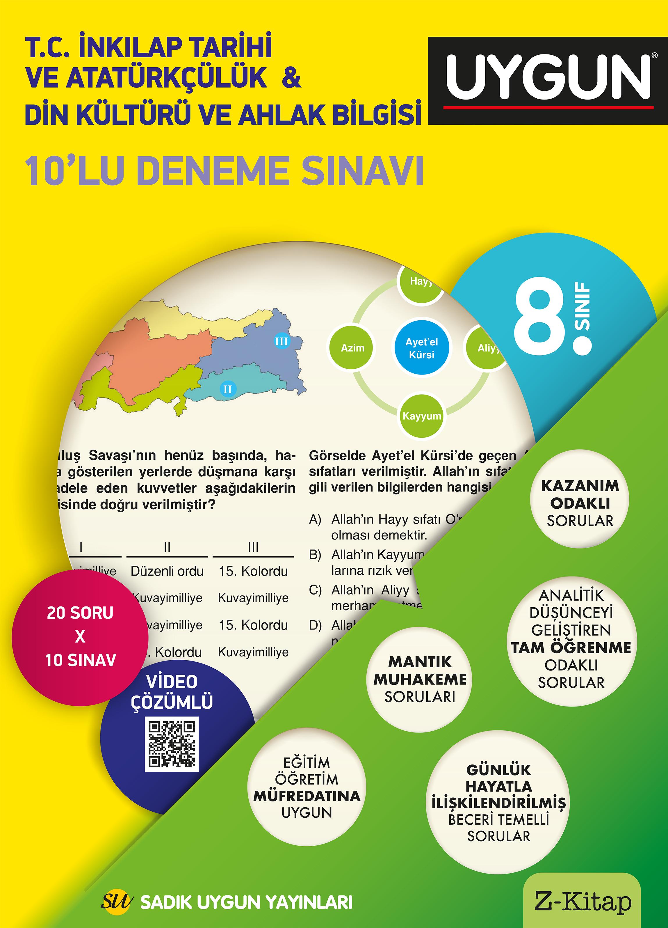 Uygun 8. Sınıf  T.C. İnkılap Tarihi ve Atatürkçülük – Din Kültürü ve Ahlak Bilgisi 10'lu Deneme Sınavı