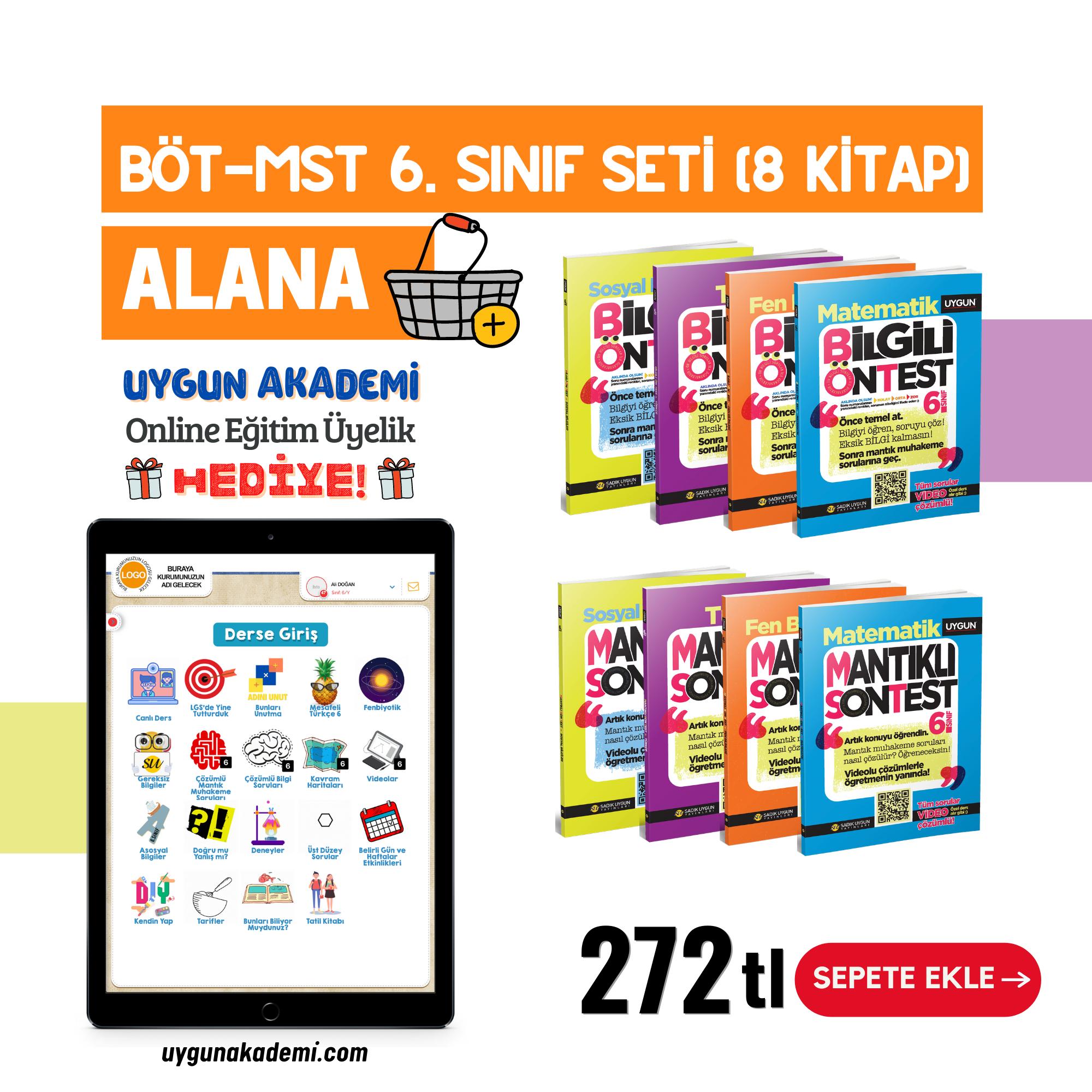 Uygun – BÖT-MST 6. Sınıf Seti (8 Kitap) Alana + Online Eğitim Üyelik Hediye!
