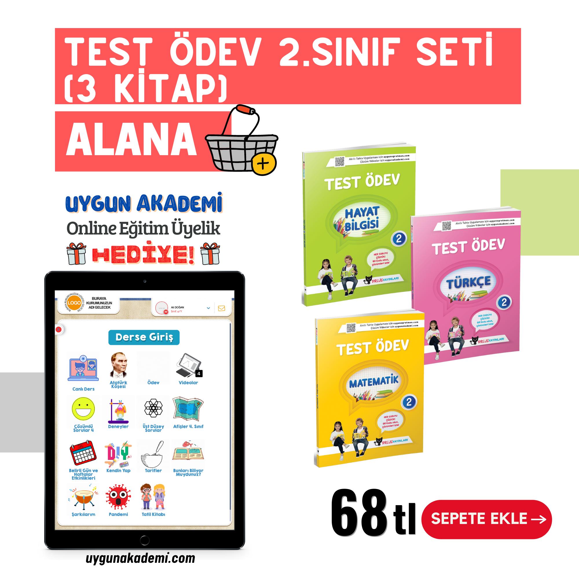 UYGUN – Test Ödev – 2. Sınıf Seti (3 Kitap) Alana Online Eğitim Üyelik Hediye!