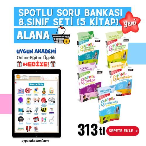 Uygun – Spotlu Soru Bankası – 8. Sınıf Seti (5 Kitap) Alana – Kavram Haritası + Online Eğitim Üyelik Hediye!
