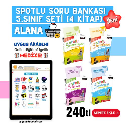 Uygun – Spotlu Soru Bankası – 5. Sınıf Seti (4 Kitap) Alana – Kavram Haritası + Online Eğitim Üyelik Hediye!